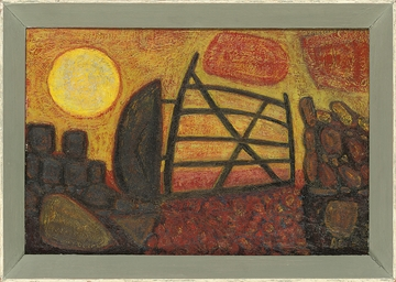 Gate with rising sun, Cornwall