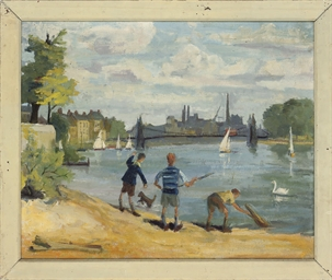 River at Chiswick; Sawing logs