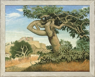 Fig tree and walled city, Ibiz