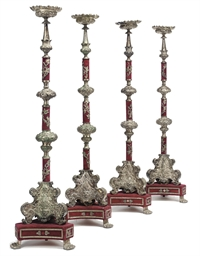 A SET OF FOUR ITALIAN SILVERED