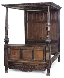 AN ENGLISH OAK TESTER BEDSTEAD