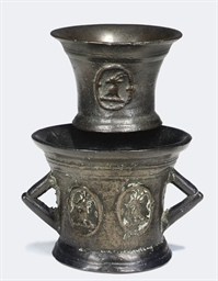 AN ENGLISH TWIN-HANDLED BRONZE