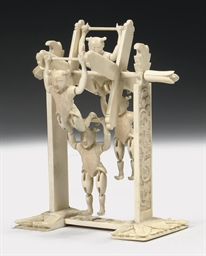A Canton ivory figure group