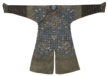 A BLUE-GROUND KESI DRAGON ROBE