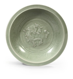 A Longquan carved celadon dish