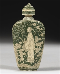 A Japanese stained green ivory