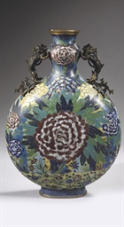 A large cloisonne moon flask