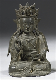 A chinese bronze figure of a b