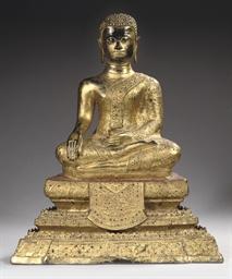 A Thai gilt bronze figure of a