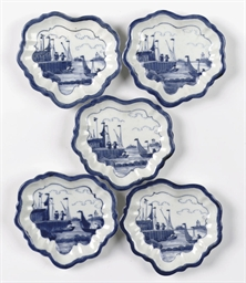A set of five Arita blue and w