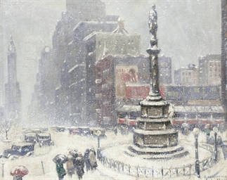 Blizzard at Columbus Circle