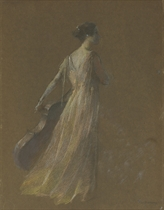 Lady Standing Holding a Cello