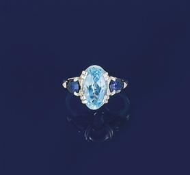 An aquamarine and sapphire rin