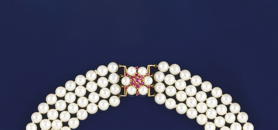 A cultured pearl and ruby neck