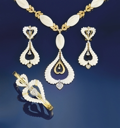 A suite of white coral and diamond jewellery