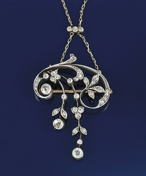 An Art Nouveau diamond pendant