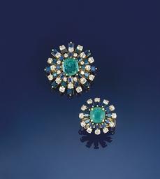 An emerald, sapphire and diamo