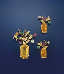 A citrine and gem-set brooch a