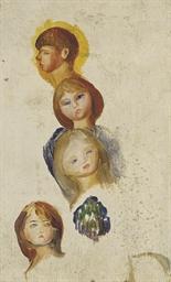Etude de quatre têtes d'enfant
