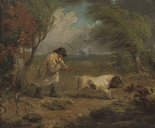 A man with a pig in a landscap