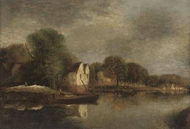 Cottages along a river bank