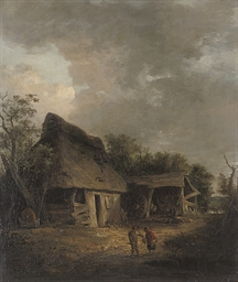 Figures before a cottage