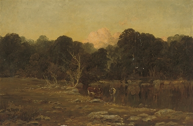 Cattle watering in a peaceful