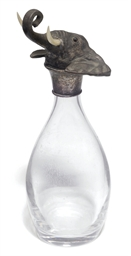 A silver mounted glass decante