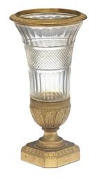 An Empire Ormolu and glass vas