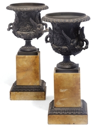 A pair of French bronze campan