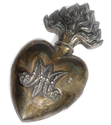 A French silver sacred heart b