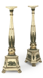 A pair of painted and giltwood