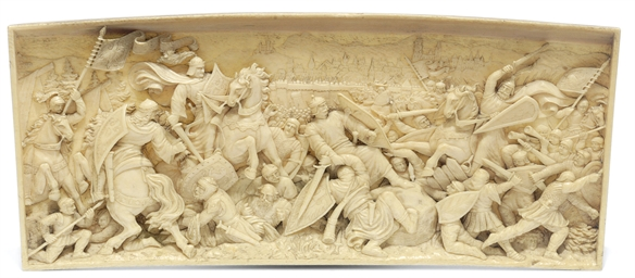 A relief carved ivory panel