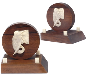 A pair of Art Deco ivory and w