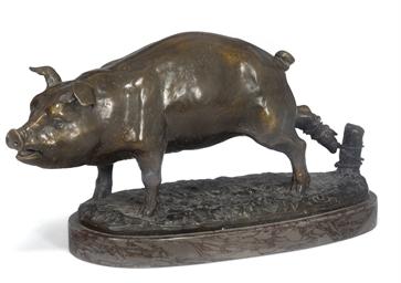 A bronze model of a pig
