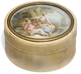 A French oval ivory box