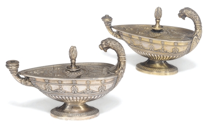 A pair of French silver-gilt t