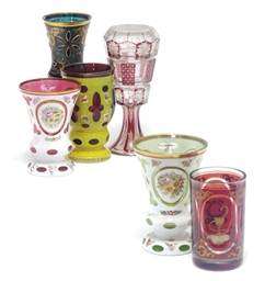 A group of six bohemian glass