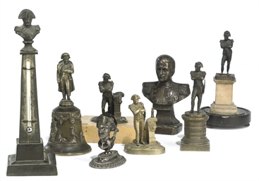A group of eight bronze figure