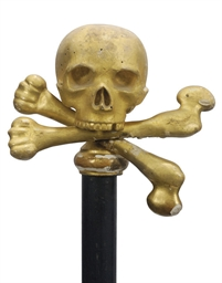 A giltwood processional staff