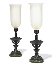 A PAIR OF REGENCY LACQUERED BRASS OIL LAMPS