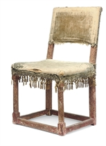 A CHARLES I PARCEL-GILT AND RED-PAINTED SIDE CHAIR