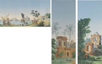 A fragment of French scenic wallpaper, printed by Zuber, cir