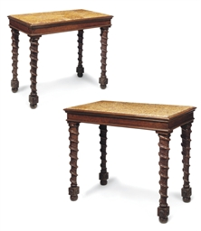 A PAIR OF ITALIAN WALNUT CENTR