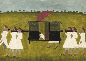A gentleman in a palanquin wit