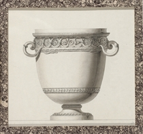 Design for a wine cooler with snake handles and a frieze of snakes and rosettes