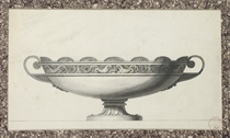 Design for a tazza decorated with a frieze of seahorses and putti