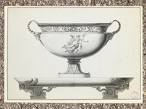 Design for a silver tureen with a bacchante holding a garland, on a platter with winged lion feet