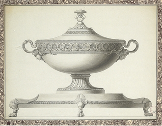 Design for a tureen with snake