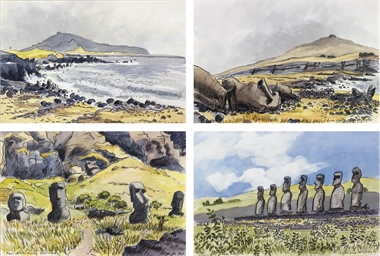 Four views of Easter Island, S